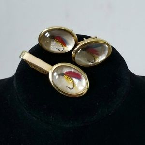 Vintage cufflinks & tie clip Fly fishing lures